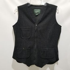 Woolrich Black Striped Wool Blend Vest Sz M